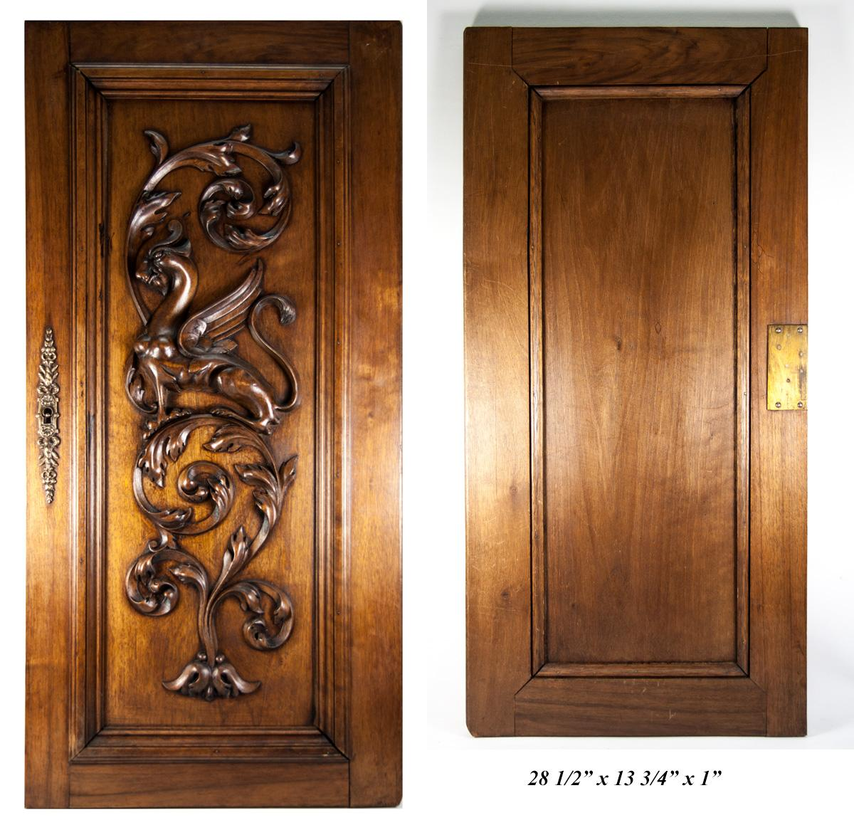 Hand Carved Antique Griffin Cabinet Door Wall Plaque Acanthus Neo Gothic Panel Ebay