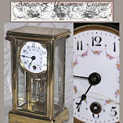 SALE Antique Crystal Regulator Mantel or Desk Clock, Floral Enamel Dial