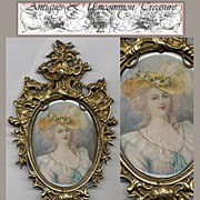 SALE Large 19th C. Signed Portrait Miniature, Ornate Gilt Frame