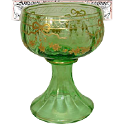 SALE Antique Green Glass Goblet or Sorbet Cup, Raised Gold Enamel