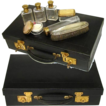 Antique French 18&quot; Travel Case, Valise or Necessaire w/ Jars!