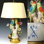 SALE Antique French Boudoir Lamp, Exotic Birds & Porcelain Flowers