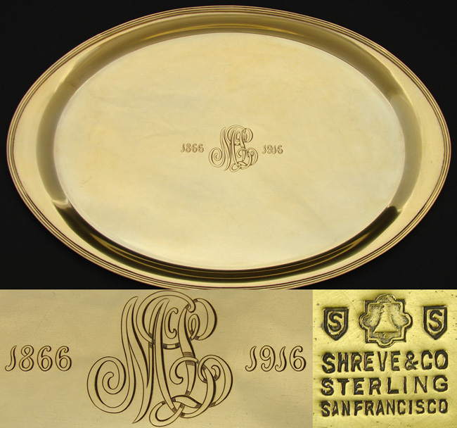 Antique Shreve Gilt Sterling Silver 13&quot; Tray, 50th Anniv. Vermeil: 1866-1916 WWI era Golden Anniversary Piece
