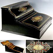 SALE Superb Antique French Writer's Chest, Boulle Lap Desk, Ecritoire - Napoleon III era c ...