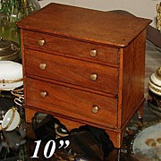Antique French Ebeniste's Apprentice Work, Miniature Chest  - with drawers, just right for ...