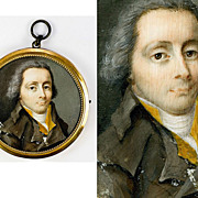 SALE Fine Antique French Revolution Portrait Miniature, Frame