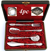 SALE Antique French Sterling Silver 4pc Hors d'Oeuvre Set, Rococo Style Pattern & Fitted Box