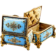 Celeste Blue! Antique TAHAN, Paris, French Kiln-fired Enamel Jewelry Casket, Box, Dore Bronze