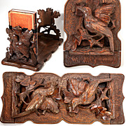 Antique Black Forest Carved Tabletop Book Rack, Stand, Slide - Birds and Oak Leaves