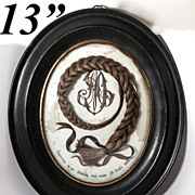 "Extra Large 13.5"" x 11.25"" Oval French Frame, Antique Hair Art Memento, Mourning Ico"