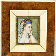 Antique Hand Painted Portrait Miniature in Fabulous Frame, Exotic Costumed Lady