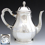Elegant Antique French Sterling Silver 8.5&quot; Coffee or Tea Pot, Seashells & Monogram`