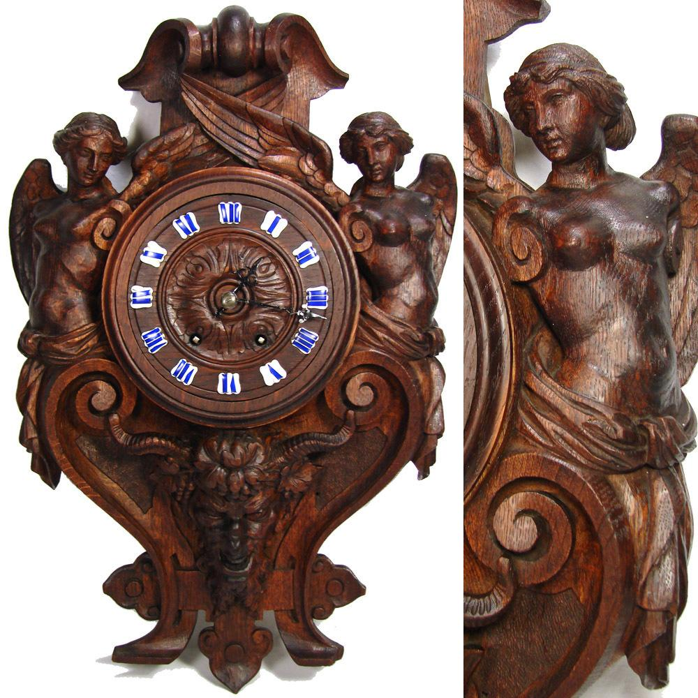 Antique french black forest style carved oak wall clock