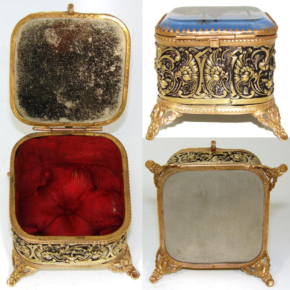 Antique french eglomise souvenir jewel casket porte for French porte