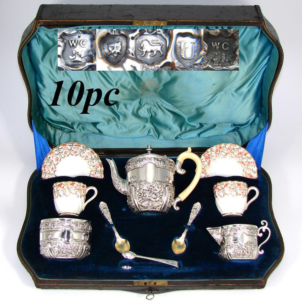 ティーポット、シュガーポット、クリームポットとカップ&ソーサー、ティースプーン、シュガースプーンのティーセット