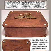SALE Fine 19th C. French Leather Chocolate/Bon Bon Box, Dore Bronze Bow