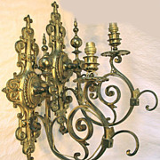 SALE Fab HUGE 19th C. French Gilt Bronze Sconce PAIR, Electric Conversion