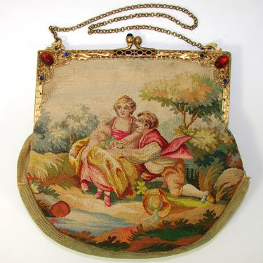 Antique French Aubusson Hand Bag, Purse, Jeweled Frame