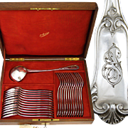SALE Antique French PUIFORCAT .800/1000 Silver 25pc Flatware Set: 12/12 Dinner Forks & Spoons,