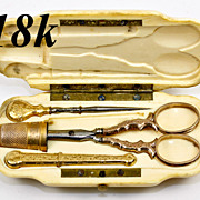 Elegant Antique French 18k Sewing Tools in Carved Etui, Case: Scissors, Needle Case, Bodkin. .