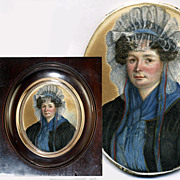 Antique French c.1820s Georgian Era Portrait Miniature, Lady in Lace Bonnet,