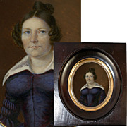Antique French c.1840s Georgian Era Portrait Miniature, Lady with Corset Dress