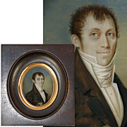 Antique French c.1840s Georgian Era Portrait Miniature, Gentleman, Napoleon Era