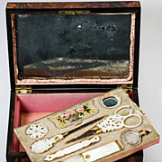 Antique Palais Royal Sewing Box, Casket, & Mother of Pearl Tools, Scissors, Needle Case, ...