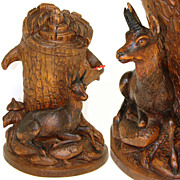 "Antique Black Forest Carved 10"" Tobacco or Cigar & Match Holder, Chamois Figure"