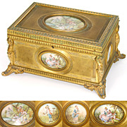 LG Antique French Napoleon III Gilt Bronze 8&quot; Jewelry Casket, 4 Miniature Paintings