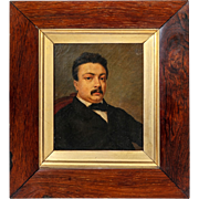 Antique Victorian Portrait in Oil, Miniature or Small in Size, Elegant Burled Wood & Parcel Gi