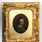 Antique Portrait Miniature, Painting in Oil on Copper Plaque, Wood & Gesso Frame