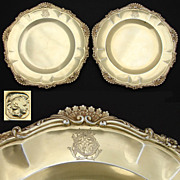 Antique French Vermeil Sterling Silver 9&quot; Serving Dish PAIR, Ornate Rococo Borders