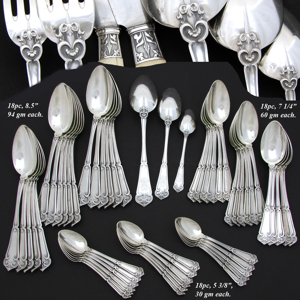 Exq antique french sterling silver 90pc flatware set gothic pattern in chest ebay - Medieval silverware ...