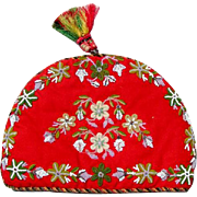 SALE Fun Victorian Beadwork Chenille Embroidery Tea Cozy - Christmas Colors!