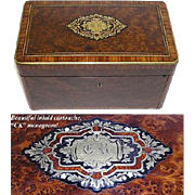 "SALE Fab LG Antique Napoleon III Burled 10"" Tea or Desk Box, CK Monogram"