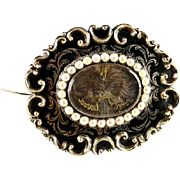 SALE Early Victorian 12K Mourning Brooch, Antique Seed Pearls, Enamel & Hair Art
