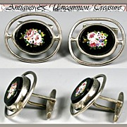 SALE Great Antique Micro Mosaic Cufflinks, Sterling Silver Mounts