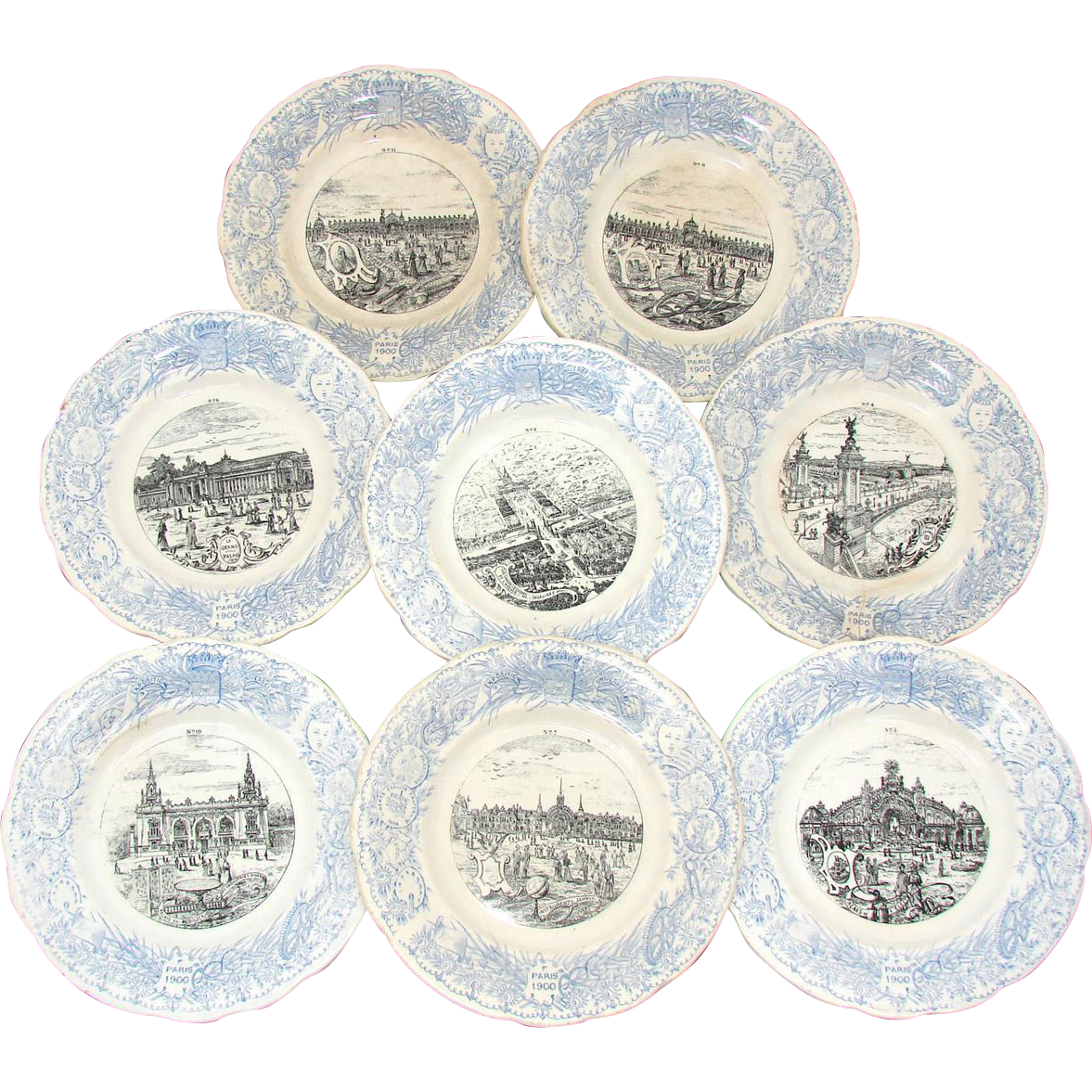 FABU 8pc Antique Antique World Expo 8&quot; Cabinet Plate Set, Paris 1900