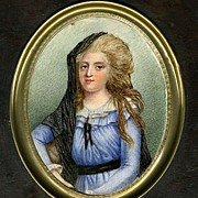 SALE Antique Georgian Portrait Miniature, Young Woman in Chantilly Lace