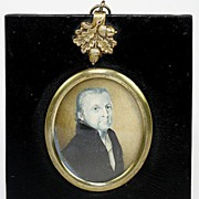 SALE Antique Georgian Era Portrait Miniature, Gentleman in Grisaille