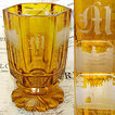 Antique Bohemian Amber Glass Goblet, FIVE Souvenir Etchings