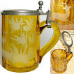 Antique Bohemian Amber Glass Tankard or Stein, Hunt Theme Stag Etching