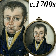 SALE Antique HP Portrait in Miniature, 1700s French Looks like Werewolf or Vampire, Non?