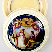 SALE Antique French Snuff Box or Perhaps Patch Box, Enamel Plaque Inset