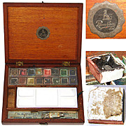 SALE Antique English Reeves & Sons Water Color Painter's Box, Ceramic Palette, Pots