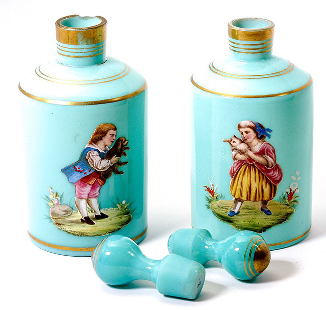 Antique French Opaline Decanters, Thick Enamel Portraits Kids w Dog, Cat