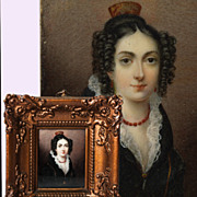 Antique c.1820 HP Portrait in Miniature by E. Laurent, Gesso & Wood Frame, Young Woman in Red