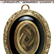 SALE Fine Antique Georgian to Victorian Mourning Pendant, 16K Gold, Enamel - Hair Locket