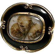 SALE Victorian 12K Mourning Brooch, Antique, Black Enamel & Blond Hair Art